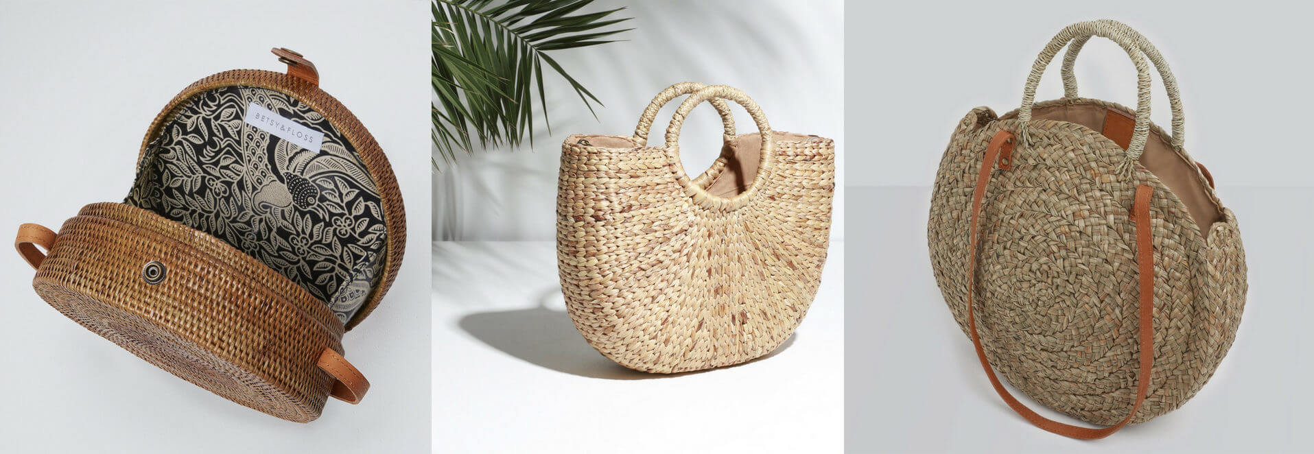 Betsy and Floss Straw Basket Bags Palermo Ischia and Corfu