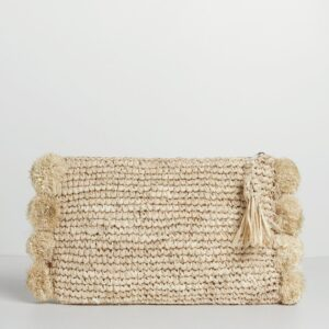 Betsy and Floss Mahon Raffia Pom Pom Clutch Bag