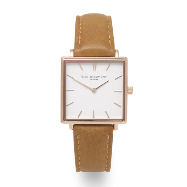 Elie Beaumont Bayswater Watch in Camel and Rose Gold
