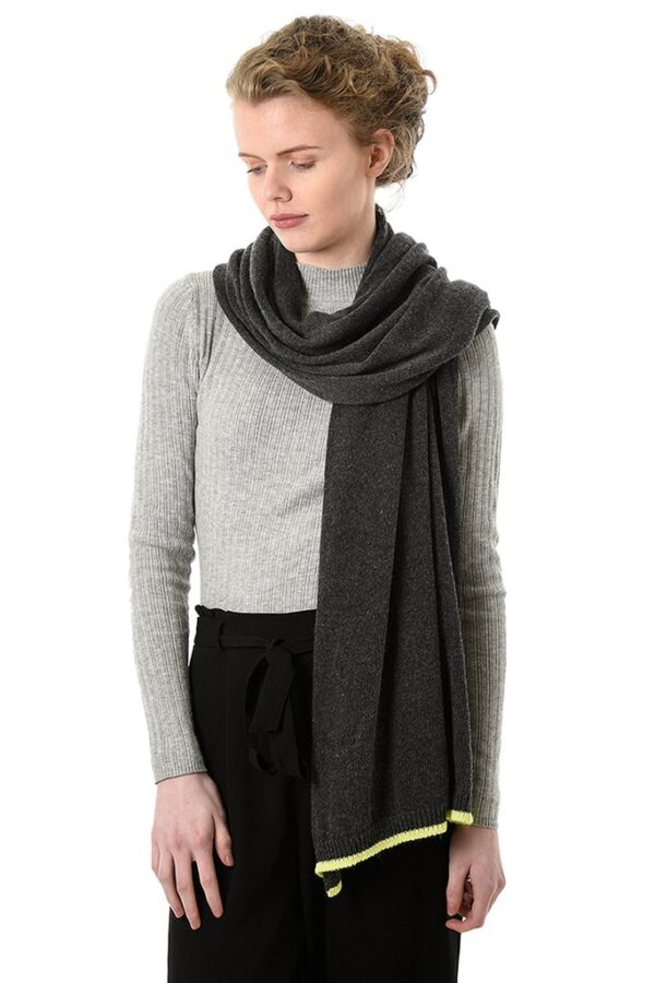 Dark Grey Cashmere Mix Scarf with Neon Yellow Trim in use