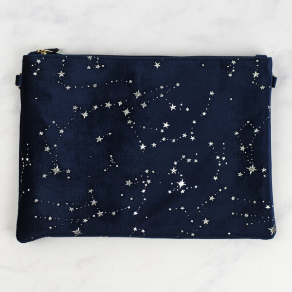 Navy Velvet Pouch with Silver Star Constellations Design