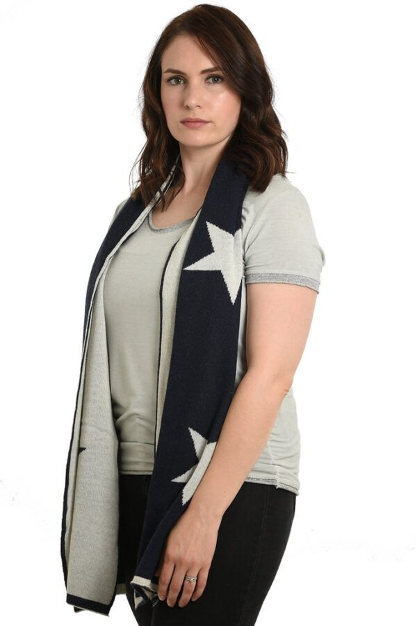 Navy Cashmere Blend Scarf with Cream Stars in use