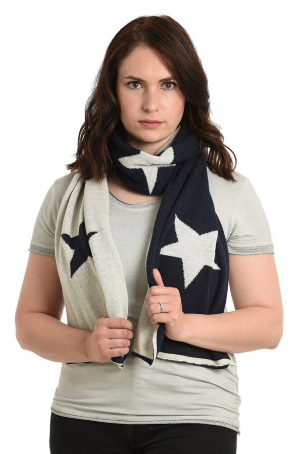 Navy Cashmere Blend Scarf with Cream Stars showing reverse