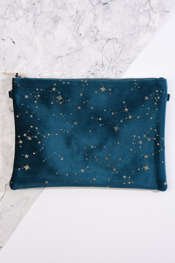 Teal Velvet Pouch with Gold Star Constellations Design