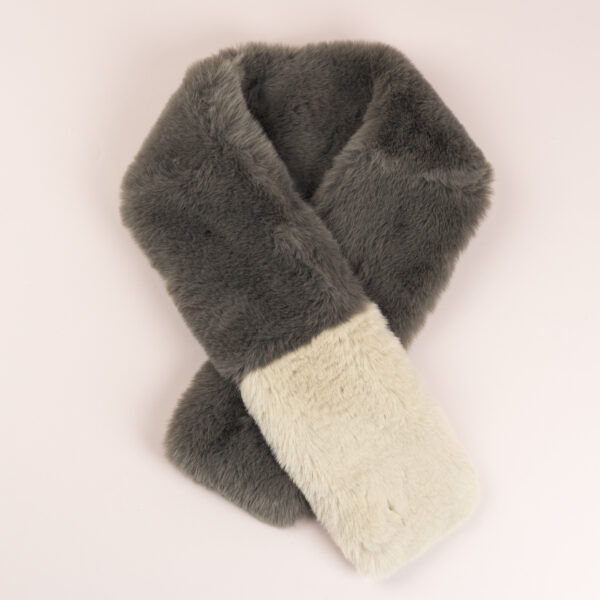 Brown taupe and cream faux fur scarf