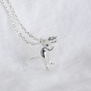 Lisa Angel Silver T Rex Dinosaur Necklace Detail
