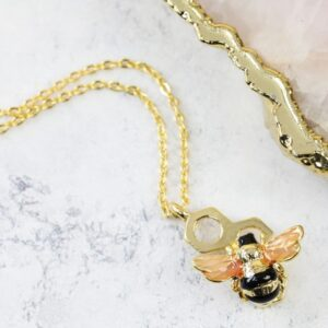 Lisa Angel Honeycomb Bee Necklace Gold