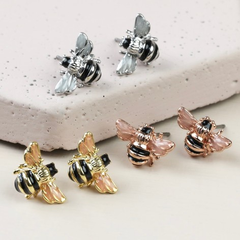 Lisa Angel Small Bee Stud Earrings Collection in Gold Rose Gold or Silver