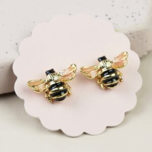 Lisa Angel Small Bee Stud Earrings in Gold on Card Back