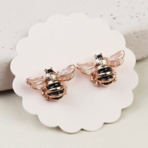 Lisa Angel Small Bee Stud Earrings in Rose Gold