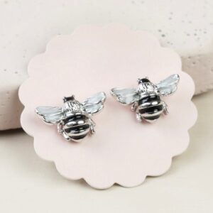 Lisa Angel Small Bee Stud Earrings in Silver