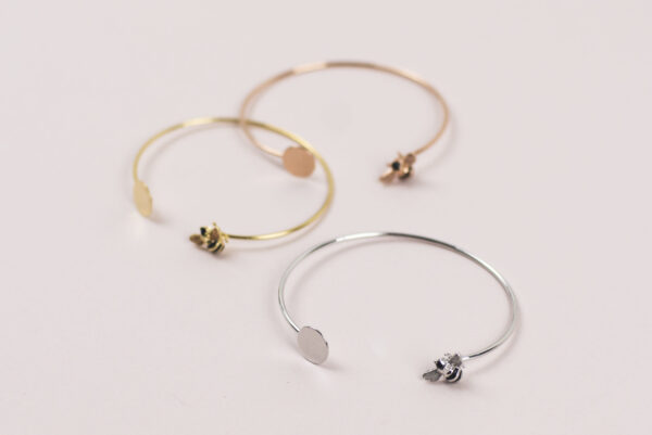 Lisa Angel Bee Bangle in Silver Gold or Rose Gold