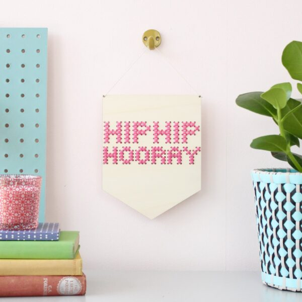 Cotton Clara Hip Hip Hooray Embroidery Banner Kit in Pink