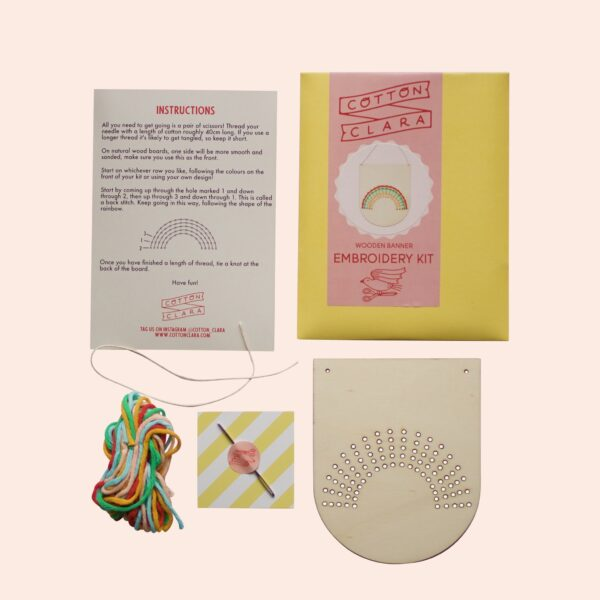 Cotton Clara Rainbow Banner Embroidery Kit Contents