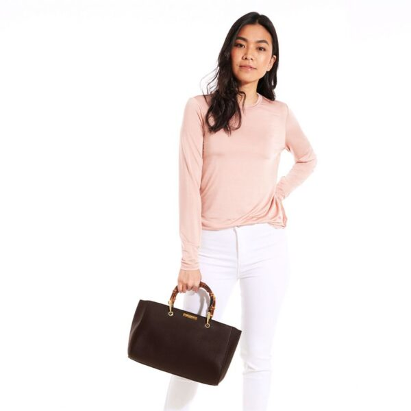 Katie Loxton Avery Bamboo Bag Dark Brown in use 2
