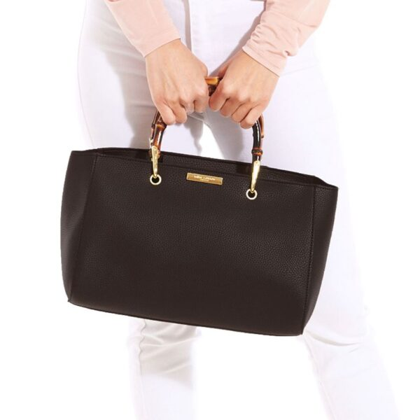 Katie Loxton Avery Bamboo Bag Dark Brown in use