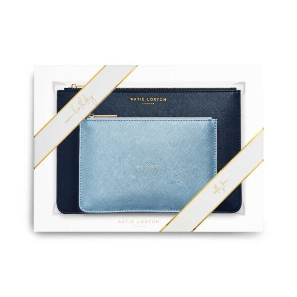 Katie Loxton Perfect Pouch Gift Set Happy Birthday Oh Yay Navy and Metallic Blue