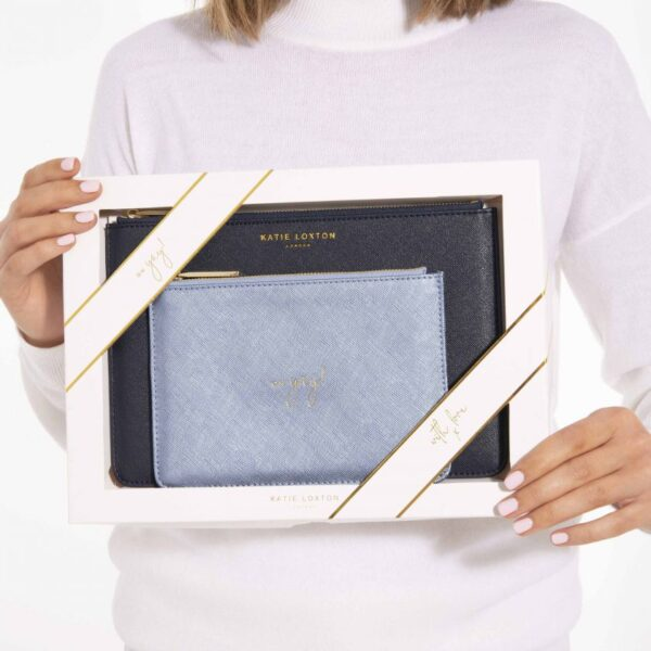 Katie Loxton Perfect Pouch Gift Set Happy Birthday Oh Yay Navy and Metallic Blue held by model
