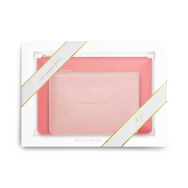 Katie Loxton Perfect Pouch Gift Set Live Laugh Love Oyster Pink