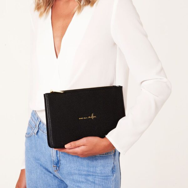 Katie Loxton Black Structured Pouch - One in a Million - on model