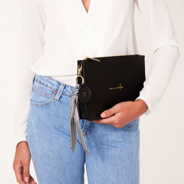 Katie Loxton Black Structured Pouch - One in a Million - with added charms
