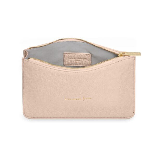 Katie Loxton Blush Pink Structured Pouch - Live Laugh Love - inside