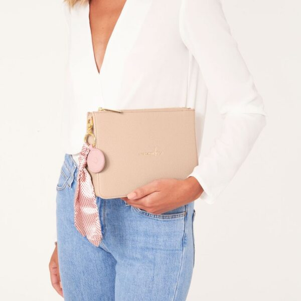 Katie Loxton Blush Pink Structured Pouch - Live Laugh Love - with added charms