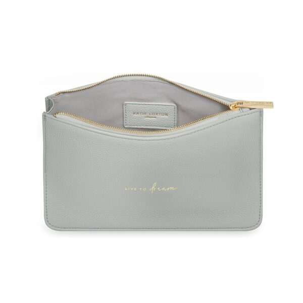 Katie Loxton Pale Grey Structured Pouch - Live to Dream - inside