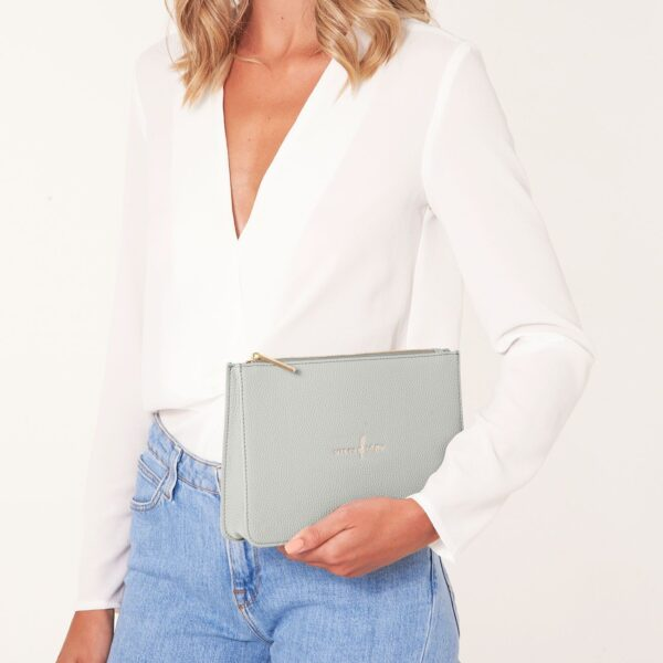 Katie Loxton Pale Grey Structured Pouch - Live to Dream - on model