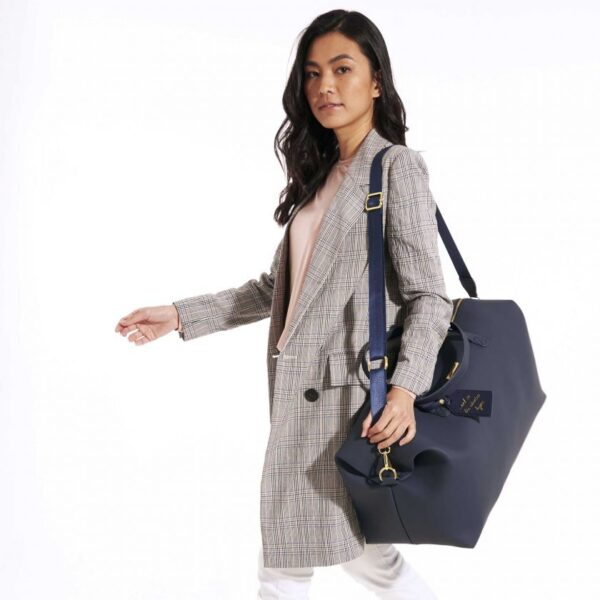Katie Loxton Weekend Holdall Duffle Bag in Navy in Use 2
