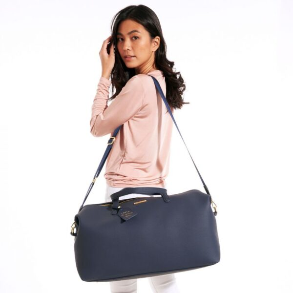 Katie Loxton Weekend Holdall Duffle Bag in Navy in Use 3