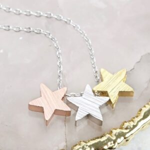 Lisa Angel Brushed Mixed Metal Star Necklace