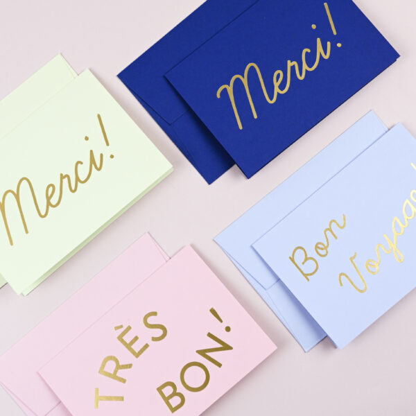 Yes Paper Goods Set of Four Greeting Cards French Phrases Gold Foil