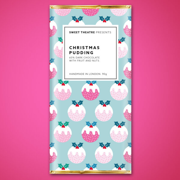 Sweet Theatre Christmas Pudding Fruit and Nut Dark Chocolate