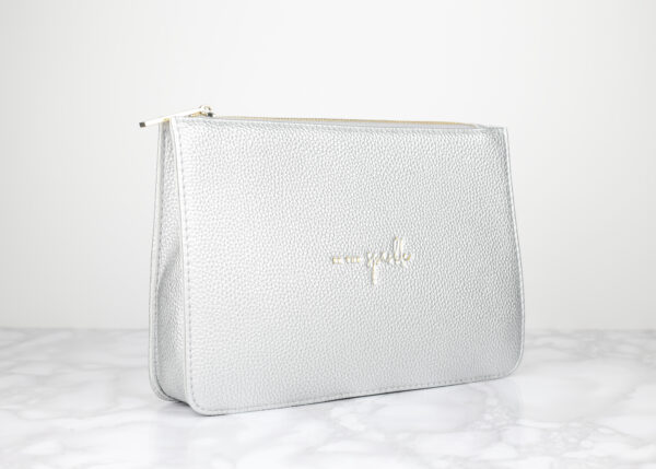 Katie Loxton Silver Structured Pouch Be The Sparkle