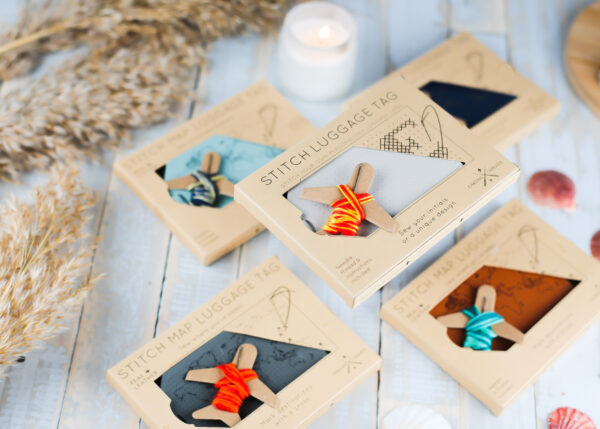 Chasing Threads Stitchable Map Leather Luggage Tags
