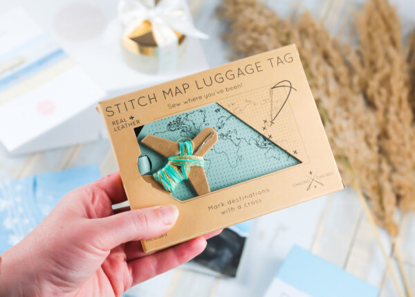 Chasing Threads Stitchable Map Leather Luggage Tag Mint
