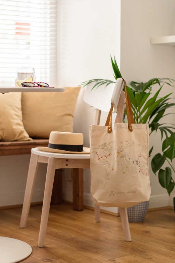 Chasing Threads Stitch Tote Bag Natural