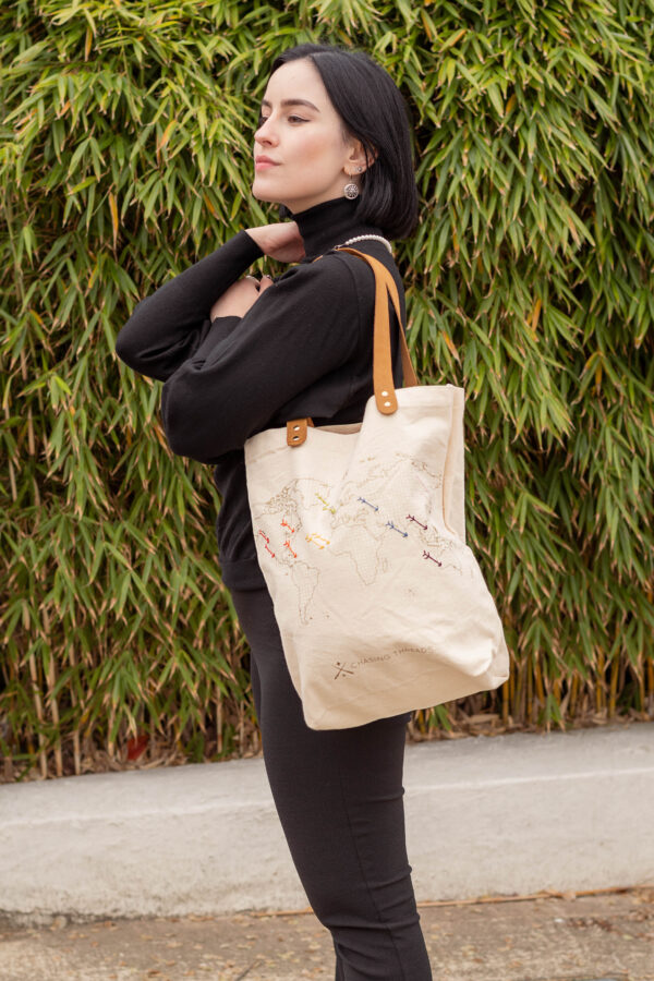 Chasing Threads Stitch Tote Bag Natural In Use