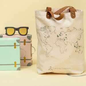 Chasing Threads Stitch Tote Bag Natural Travel Photo