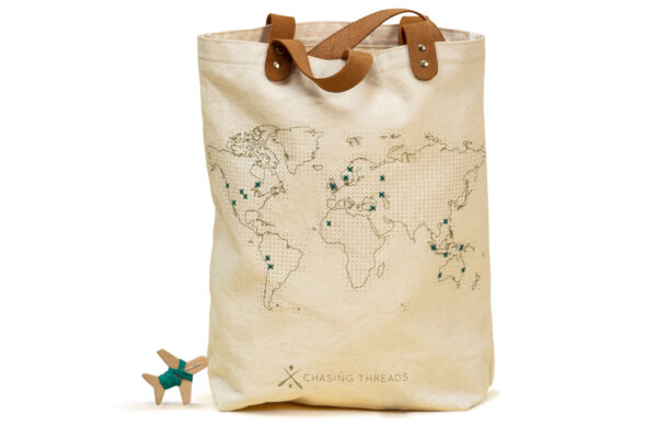 Chasing Threads Stitch Tote Bag Natural White Cut Out