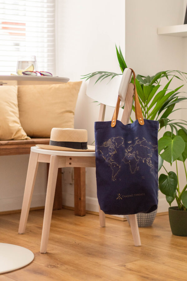 Chasing Threads Stitch Tote Bag Navy