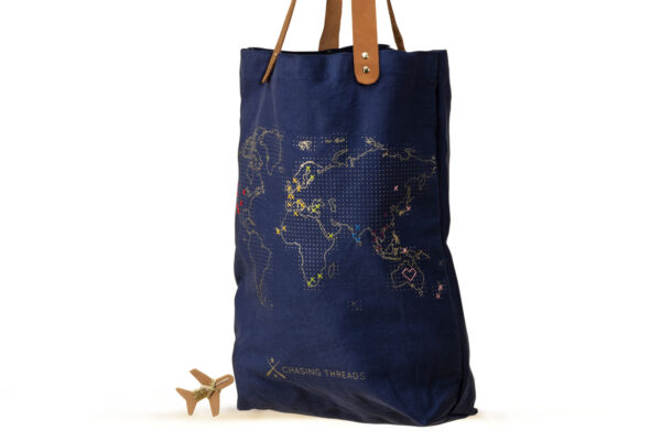 Chasing Threads Stitch Tote Bag Navy White Cut Out