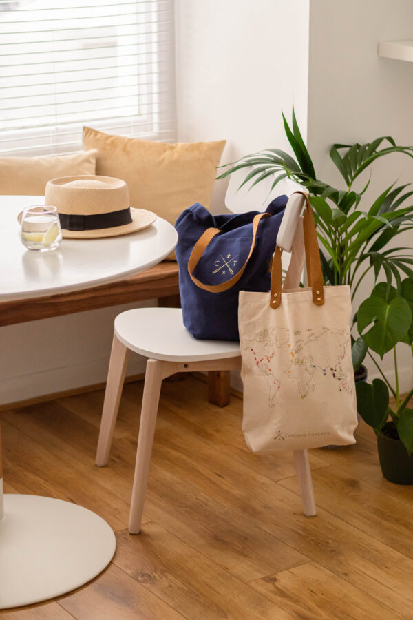 Chasing Threads Stitch Tote Bags Natural and Navy