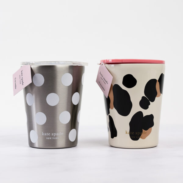 Kate Spade Stainless Steel 12 oz Tumbler Forest Feline and Jumbo Dots