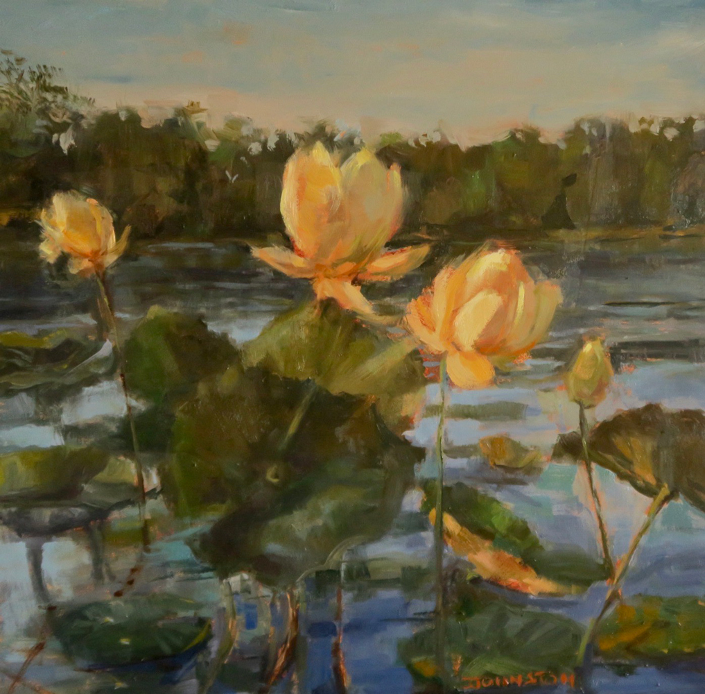 """<p style=""""font-size: 16px; line-height: 150%;""""><em><strong>Lotus In Bloom&emsp;<br> </strong></em>Oil  / 13&#8540;&rdquo; x 13&#8540;&rdquo; / Framed&emsp;<br> <strong>SOLD</strong></p>"""