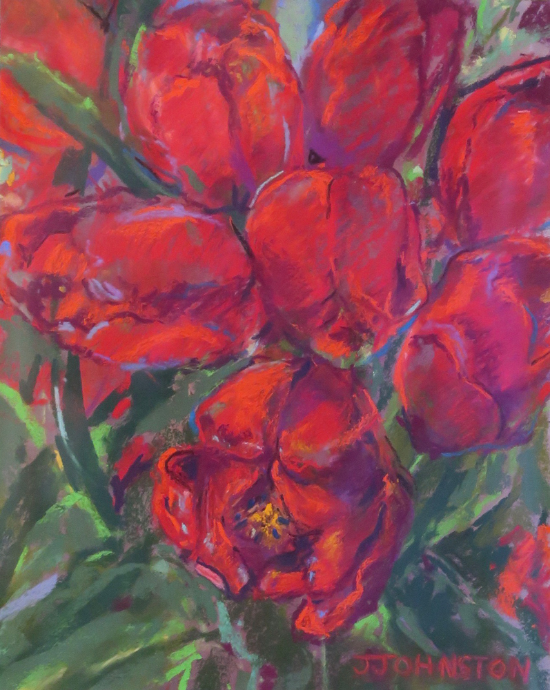"<p style=""font-size: 16px; line-height: 150%;""><em><strong>Tulips in Red&emsp;<br> </strong></em>Pastel  / 14&frac12;&rdquo; x 13&frac12;&rdquo; / Framed&emsp;<br> <strong>$125</strong></p>"