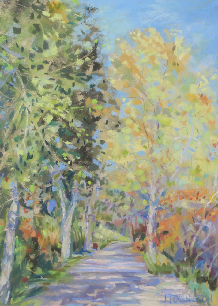 "<p style=""font-size: 16px; line-height: 150%;""><em><strong>Fall Path&emsp;<br> </strong></em>Pastel  / 16&frac12;&rdquo; x 13&frac12;&rdquo; / Framed&emsp;<br> <strong>$125</strong></p>"