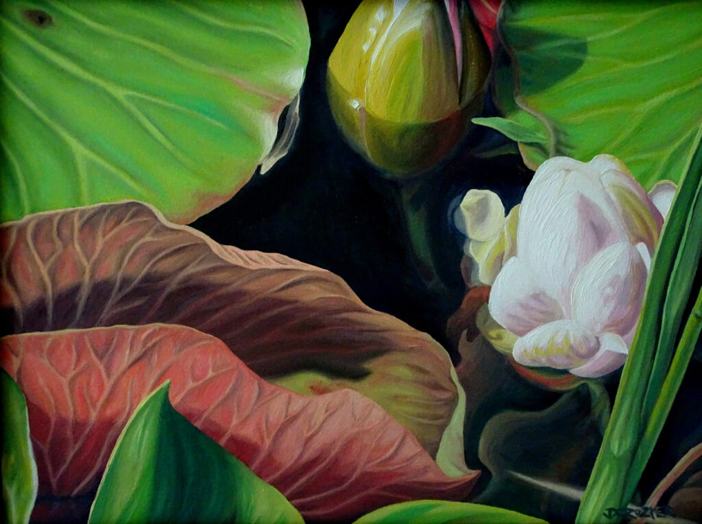 """<p style=""""font-size: 16px; line-height: 150%;""""><strong><em>Lilies&emsp;<br /> </em></strong>oil painting&emsp;<br /> 13&rdquo; x 17&rdquo; 