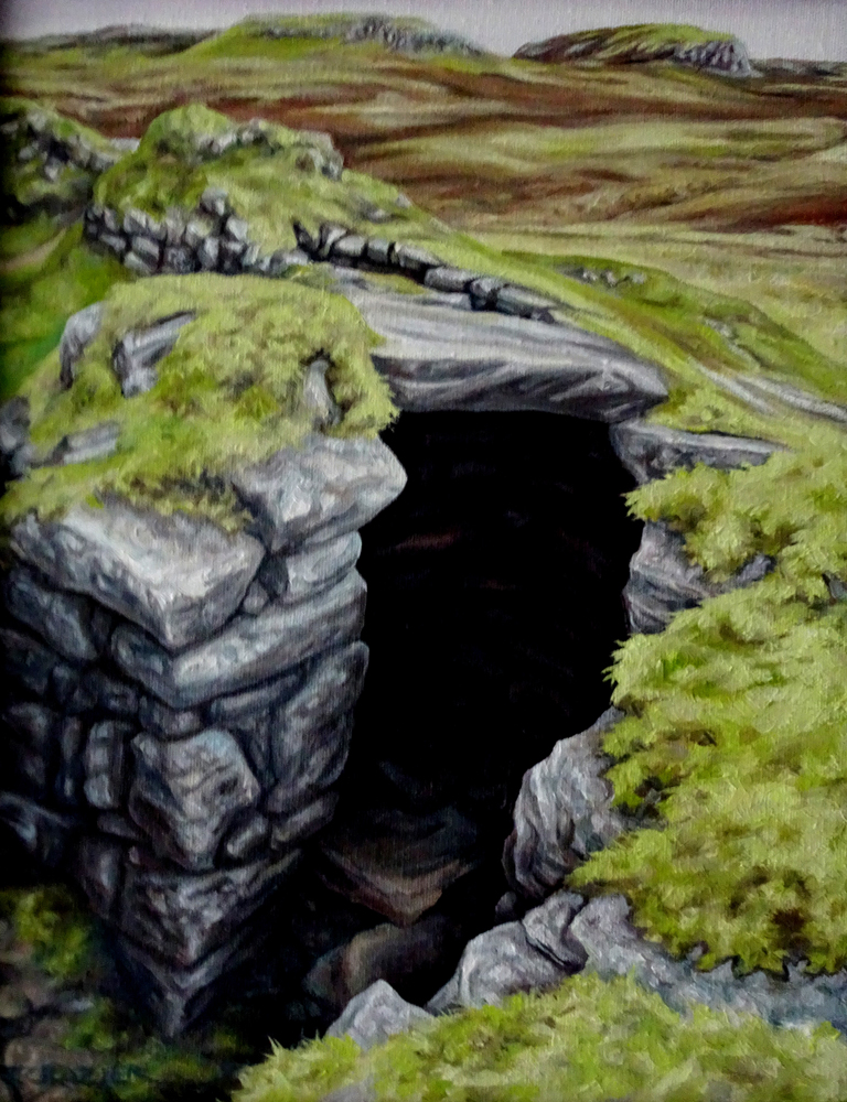 """<p style=""""font-size: 16px; line-height: 150%;""""><strong><em>Scottish Broch</em></strong>&emsp;<br />   oil painting&emsp;<br /> 12&rdquo; x 16&rdquo; 